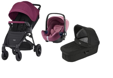 Britax B-Motion 4 Plus inkl. Canopy Pack + Hard Carrycot + Baby Safe 2 i-Size Wine Red 2018 - Großbild