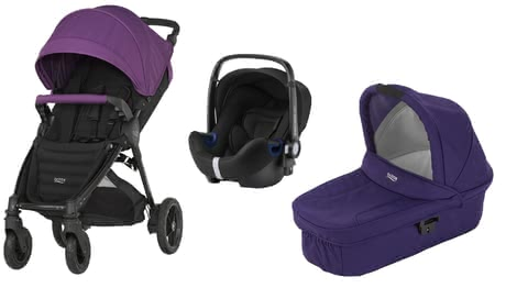 Britax B-Motion 4 Plus inkl. Canopy Pack + Hard Carrycot + Baby Safe 2 i-Size Mineral Lilac 2018 - Großbild