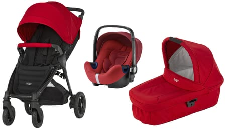 Britax B-Motion 4 Plus inkl. Canopy Pack + Hard Carrycot + Baby Safe 2 i-Size Flame Red 2018 - Großbild